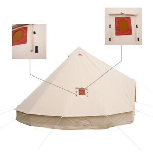 """6/"""" Stove Jack with Canvas Edging With Rain Flap for Standard Bell Tent Accessory"""