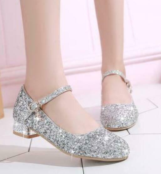 Womens Bling Bling Sequins Round Toe Buckle Strap Low Heels Mary Jane shoes H769