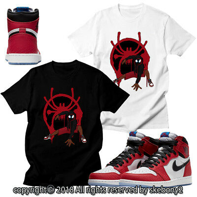 on sale 68fc5 e2990 CUSTOM T SHIRT MATCHING STYLE OF Air Jordan 1 High OG Spider-Verse JD  1-33-4 | eBay
