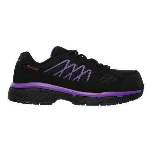 Skechers For Work Women's Conroe Kriel Work Shoe, Black/Purple, 5 M US