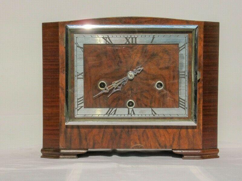 Art Deco Walnut Westminster Chimes Mantle Clock SKU: 809