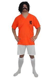 Adults-Holland-Football-Icon-Rudd-Gullit-Kit-Fancy-Dress-amp-Wig-and-Tash