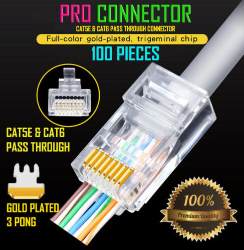 500x Gold-Plated Pass Through RJ45 Cat6 3-Prong Connectors CAT5E//CAT6