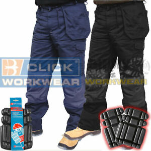 Click-Heavyweight-Work-Trouser-Pants-Duratex-Knee-amp-Holster-Pockets-Knee-Pads