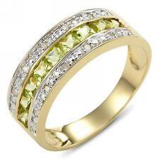 Fashion Size 10 Green Peridot Olive Cut 18K Gold Filled Womens Anniversary Ring