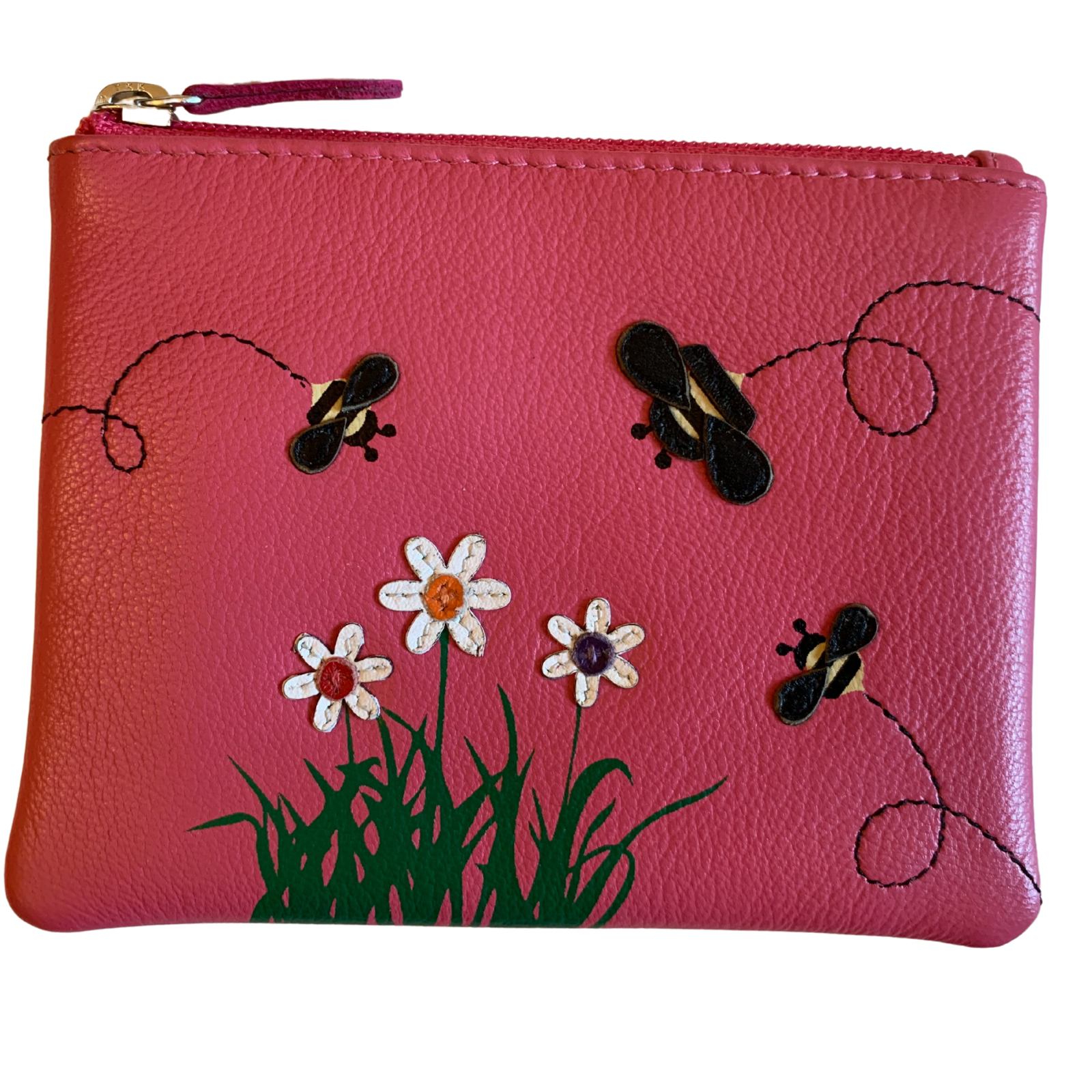 ***SALE** Mala Leather Coin & Card Pink Purse bumble bee BEES