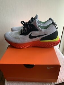 462ae179f2125 NIKE MENS SZ 9.5 EPIC REACT FLYKNIT White Black Crimson Pure ...