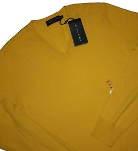 Ralph-Lauren-Pure-Cashmere-Black-Label-V-Neck-Yellow-Pullover-Gr-M