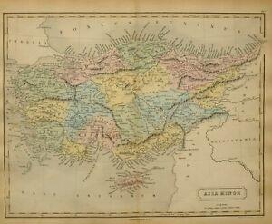 1851 Hand- Farbig Alte Landkarte Asien Moll Cyprus Kappadokien Paphlagonia Mysia