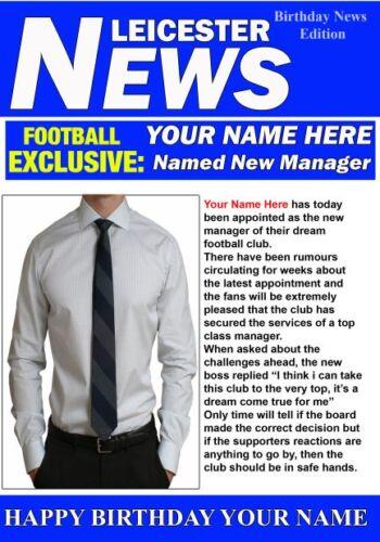 A5 Personnalisé Leicester Football président de Voeux Carte d/'anniversaire PID023