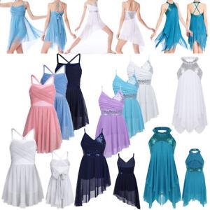 Kids-Girl-Lyrical-Ballet-Dress-Sequins-Latin-Gymnastic-Skirt-Irregular-Dancewear