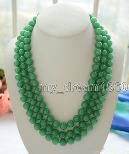 33/'/' Long 12mm Natural Round Green Jade Gemstone Beads Necklace