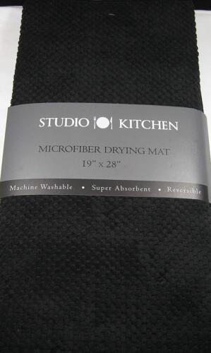 Studio Kitchen XL Microfiber Dish Drying Mat Super Absorbent// Reversible Black