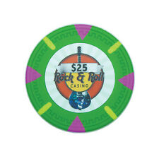 "25 ct Green $25 Twenty-Five Dollars ""Rock & Roll"" Series 13.5 Grams Poker Chips"