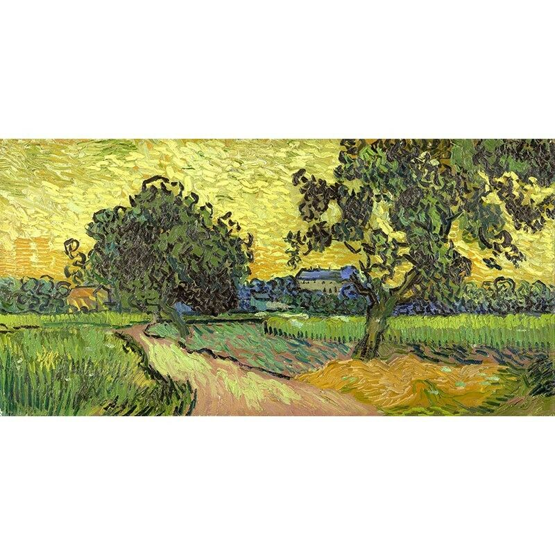 Quadro su Pannello in at Legno MDF Vincent Van Gogh Landscape at in twilight 70f496