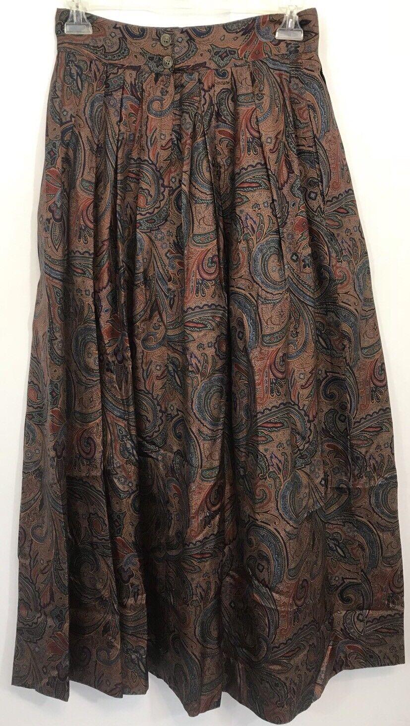 Vintage Dgoldthy Bullitt 100% Silk Paisley Skirt Size 8 Ardmore Chestnut Hill PA