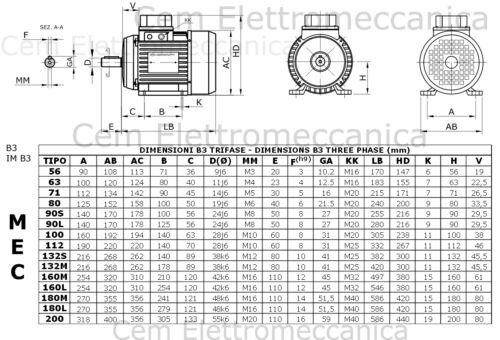 Motore elettrico trifase 400 V HP 4 kW 3-2 Poli 2800 giri MEC 100 B3 380 V