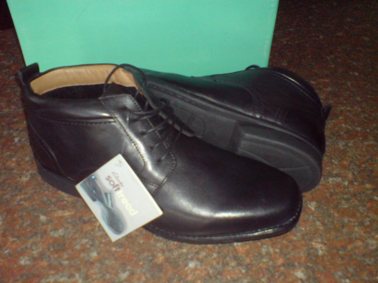 Clarks Mens  FOOT FALL  SOFT TREED Stiefel  schwarz LEATHER   UK 9    | Verwendet in der Haltbarkeit