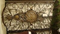 Extra Large 42 Iron Scroll Wall Plaque Grille Overdoor Metal Neiman Marcus Luxe