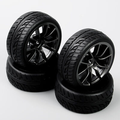 4pcs 1:10 RC On Road Racing Model 12mm Hex Wheel Rims Rubber Tires Foam Insert