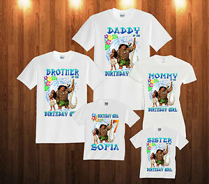 Details About Moana Birthday Shirt Custom Personalized White T For Kids And Family