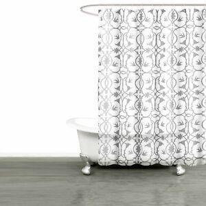 Image Is Loading White SHEER Fabric Shower Curtain Gray Bird Flower