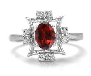 925-Sterling-Silver-Ring-Red-Garnet-Natural-Gemstone-Size-4-11