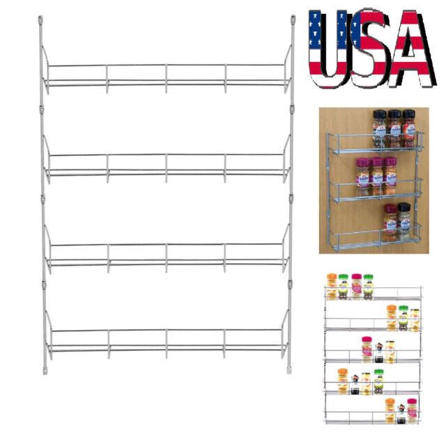 4-6 Tiers Kitchen Spice Rack Organizer Storage Shelf Pantry Wall Hanging Holder
