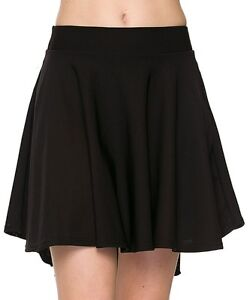 ef41b2ee71 Details about Black Ponte Knit High Low Mini Full Circle Scuba Flared Skater  Skirt more colors