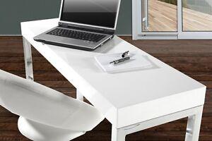 Table De Bureau Blanc : Table d ordinateur portable de bureau mise au point brillant blanc