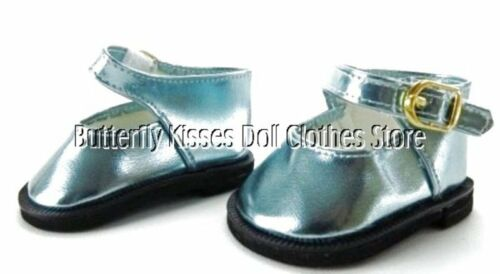 Teal Blue Metallic Mary Jane Shoes 18 in Doll Clothes Fits American Girl
