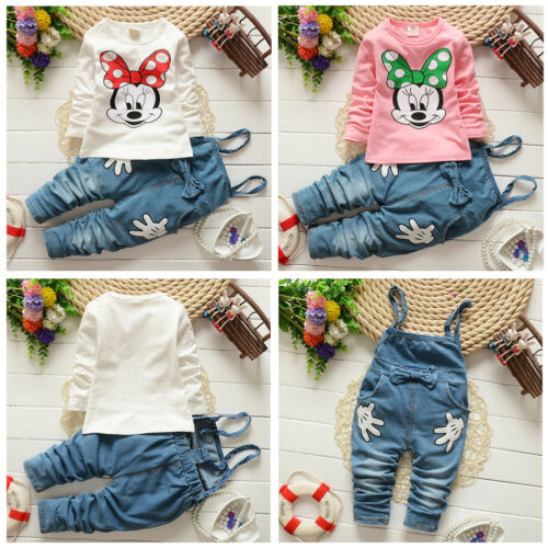 2pcs Girl Baby Cartoon Minnie Mouse T-shirt+Denim Pants Overalls Outfits Clothes