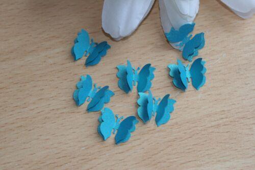 25 petites Sarcelle Papillon 3D Mariage Confettis Décoration de Table Toppers