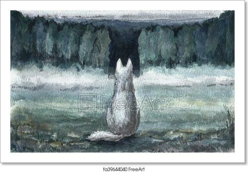 Wall Art Poster C Lost Dog In The Forest With Art//Canvas Print Home Decor