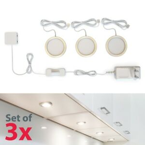 3-LED-Unterbau-Leuchten-Schrank-Licht-Kuechen-Lampe-flach-Aufputz-Strahler-Spots