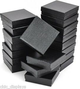 Details About Lot Of 12 Black Cotton Filled Box Jewelry Gift Boxes Bracelet Bangle Box 3 5x3 5