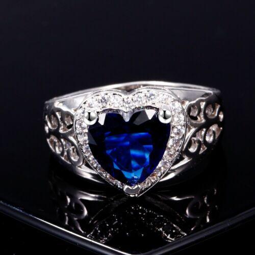 Magnifique Argent 925 Handmade Sapphire Cœur Gemmes Creux Anneaux De Mariage Bijoux