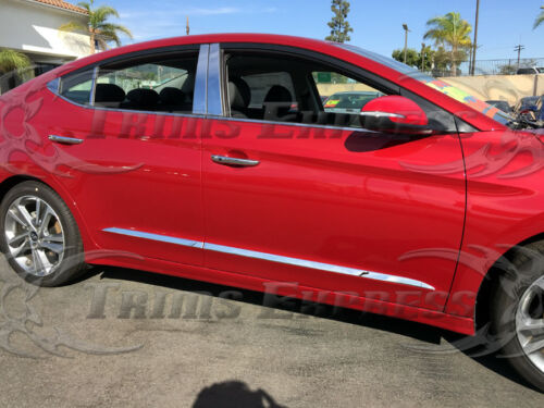 Fit:2017-2019 Hyundai Elantra Chrome Stainless Steel Body Side Molding Trim 4Pc