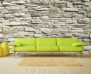 Giant paper wallpaper 366x254cm Grey stone wall mural living room Stones Brick