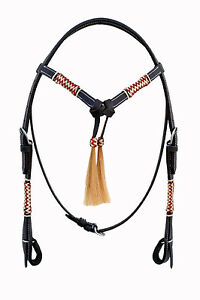 Western Dark Oil Futurity Style Multi Color Rawhide Braided Headstall/Tass<wbr/>el