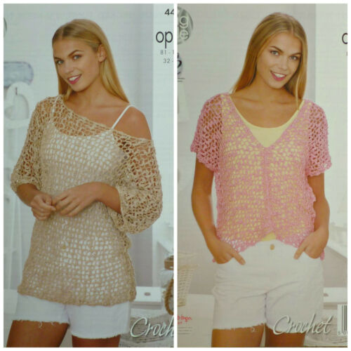CROCHET PATTERN Ladies Boat or V-Neck Short Sleeve Lacy Top Opium King Cole 4495