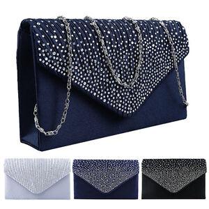 Womens Crystal Evening Shoulder Bag Sequins Envelope Clutch Chain Purse Handbag