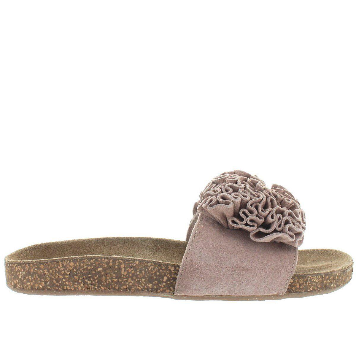 Musse & Cloud Sisley - Sand Suede Ruffled Flower Footbed Slide Sandal