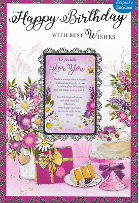 21ST FEMALE BIRTHDAY CARD,SHOES .KEEPSAKE PURSE CARD LOVELY VERSE*9 X 6 INCH B8