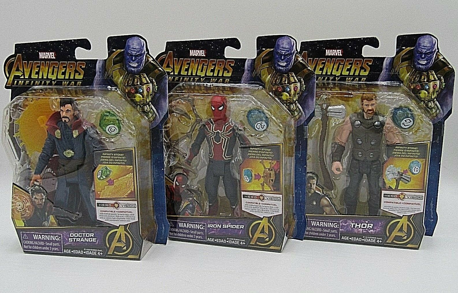Marvel Avengers Infinity War IRON SPIDER, DR STRANGE, THOR w  Infinity Stone Set