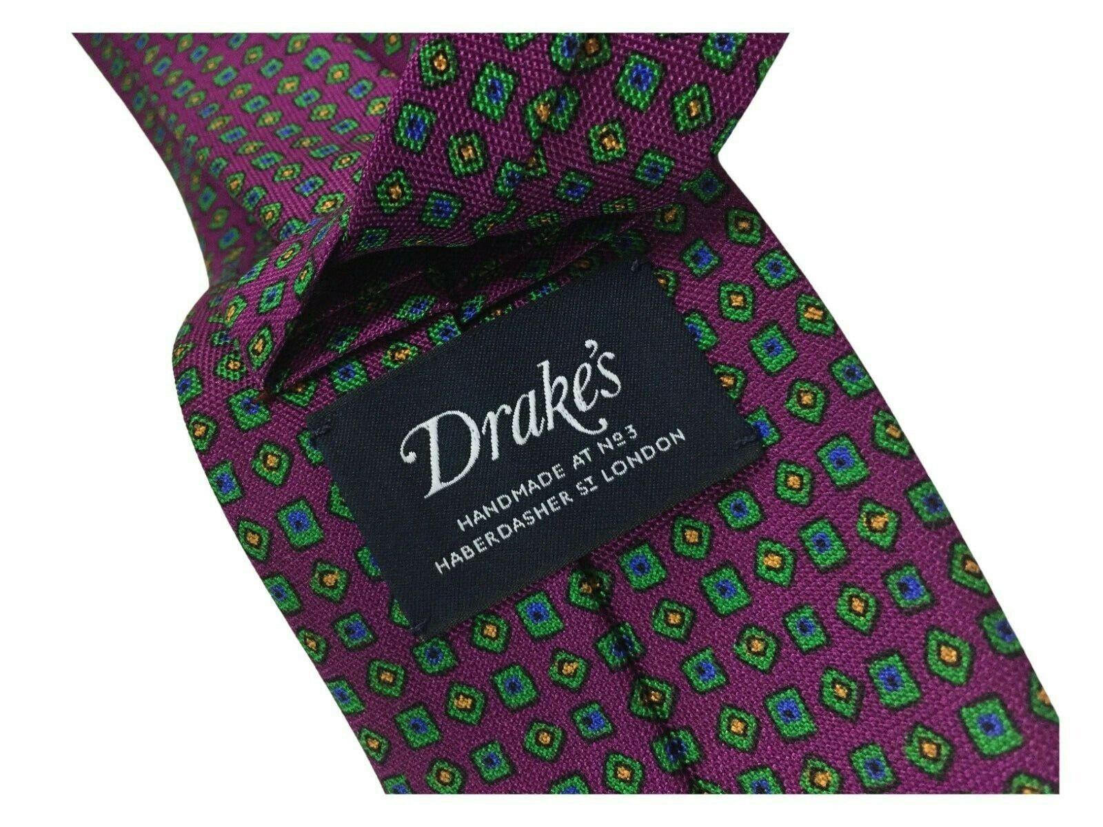 Drake's London Krawatte Herren Liniert CM 8 Wine Fantasie Grün 100% Seide