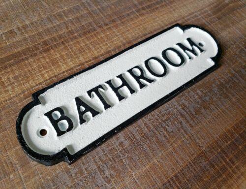 Metal BATHROOM Sign Vintage Style Cast Solid Iron Toilet Restroom Door Plaque