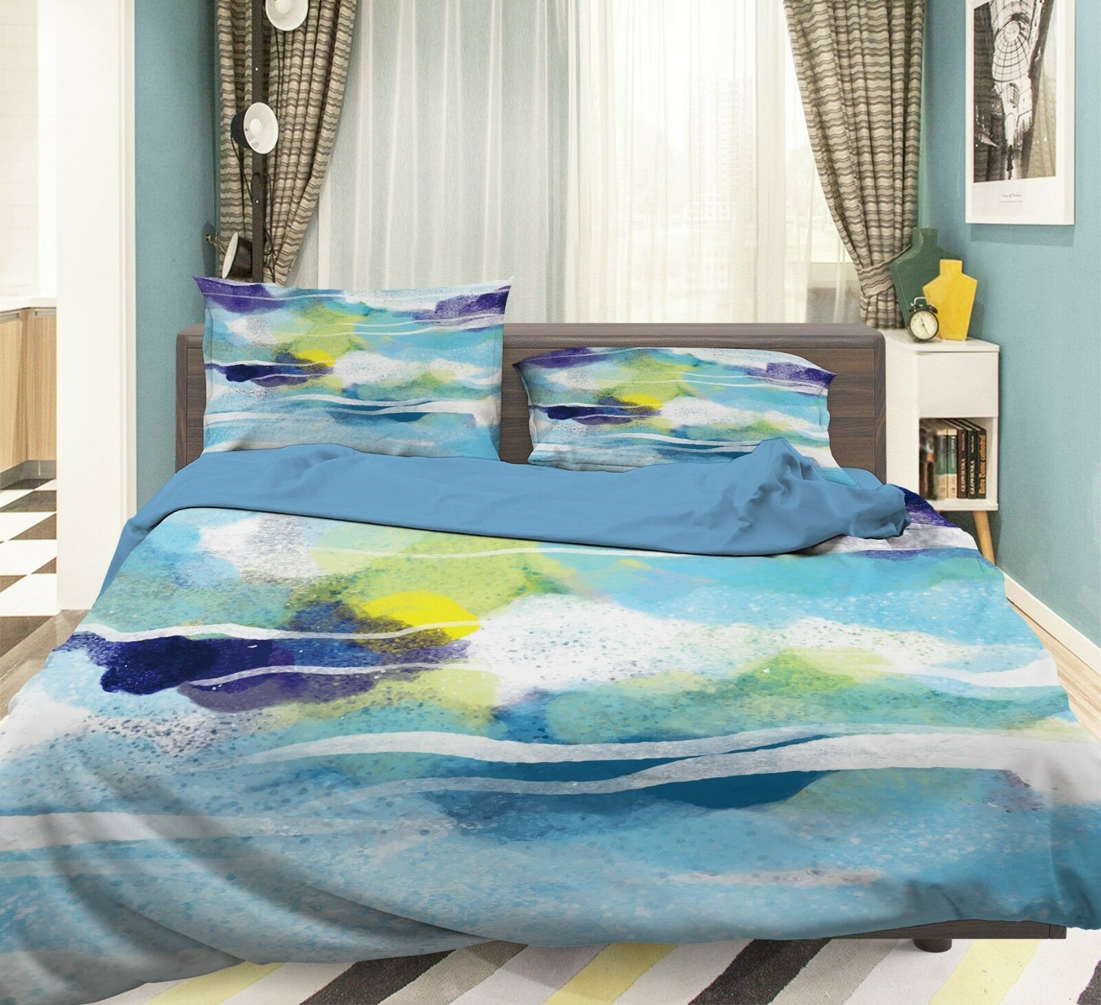 3D WaterColoreee 38 Bed Pillowcases Quilt Duvet Cover Set Single Queen King Dimensione AU