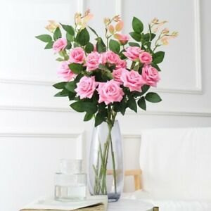 Rose Artificial Flowers Non-woven Fabrics Branch Wedding Party Home Decoration