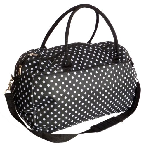 Ladies Overnight Travel Bag Womens Weekend Maternity Hospital Holdall Gym Bags Black Polka Dot
